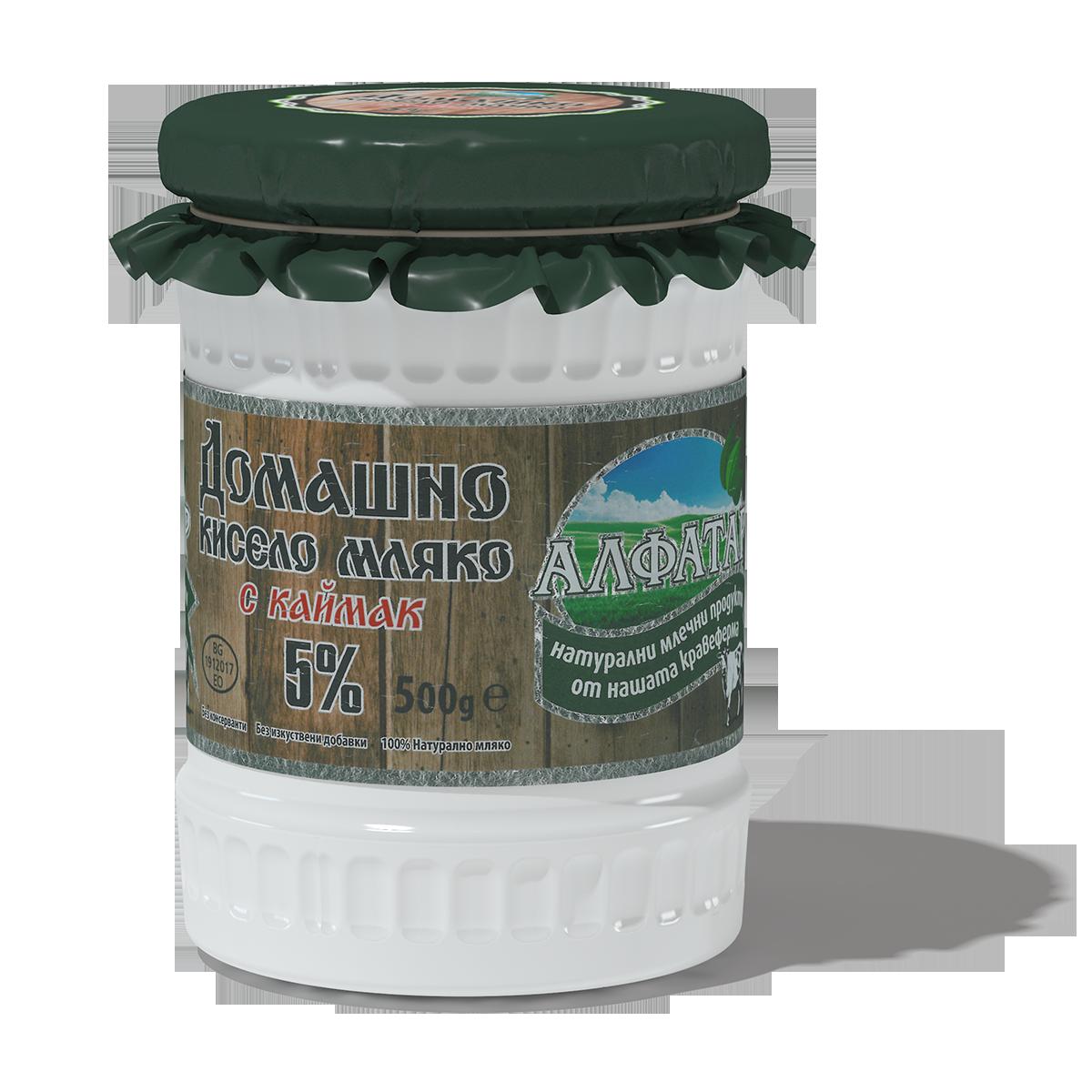 домашно кисело мляко с каймак